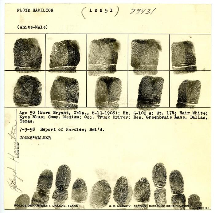 Floyd Garland Hamilton Fingerprint Chart, 1958 - Dallas