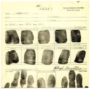 Primary view of object titled '[Floyd Garland Hamilton Fingerprint Chart, 1934 - Texas Prison System]'.