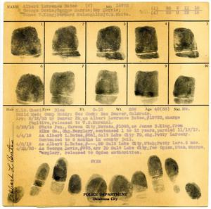 Primary view of object titled 'Albert Lawrence Bates Fingerprint Card, 1933 (Oklahoma City Police Department)'.