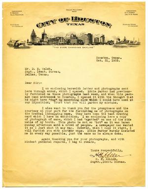 [Letter from Supervisor H. E. Keller to Dallas, Texas Bureau of Identification Superintendent D. E. Walsh - 10/31/1933]