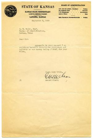 Primary view of object titled '[Letter from Record Clerk C. W. Wilson to Dallas, Texas Bureau of Identification Superintendent D. E. Walsh - 12/08/1933]'.