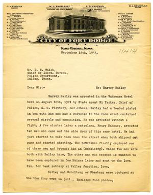 Primary view of object titled '[Letter from Fort Dodge, Iowa Police Superintendent Willis Belknap to Dallas, Texas Bureau of Identification Superintendent D. E. Walsh - 09/18/1933]'.