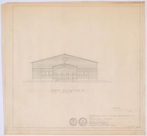 "Primary view of object titled 'High School Gymnasium Proposal, Ozona, Texas: Front Elevation ""A""'."