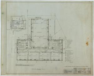 Primary view of object titled 'School Building, Kermit, Texas: Ground Level Floor Plan'.