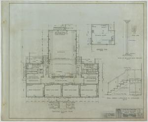 Primary view of object titled 'School Building, Kermit, Texas: Ground and Basement Floor Plans'.