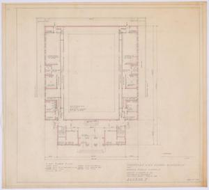 Primary view of object titled 'High School Gymnasium Proposal, Ozona, Texas: First Floor Plan'.