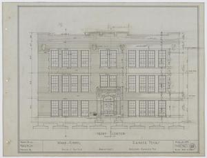 Primary view of object titled 'Ward School Building, Ranger, Texas: Front Elevation Plan'.