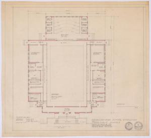 Primary view of object titled 'High School Gymnasium Proposal, Ozona, Texas: Floor Plan'.