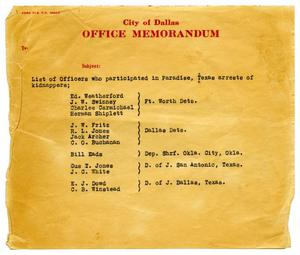 Primary view of object titled '[City of Dallas Memorandum - 1933]'.