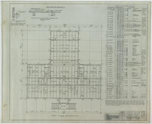 Primary view of object titled 'School Building, Kermit, Texas: First Floor Framing Plan'.