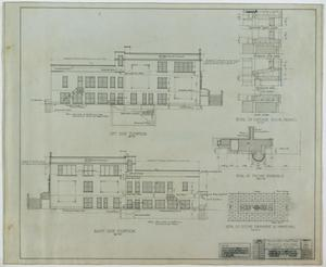 Primary view of object titled 'School Building, Kermit, Texas: Right and Left Elevations'.