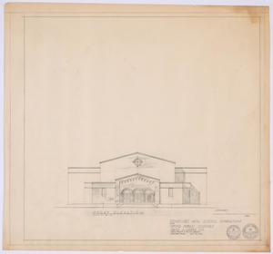 Primary view of object titled 'High School Gymnasium Proposal, Ozona, Texas: Front Elevation'.
