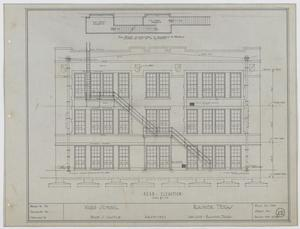 Primary view of object titled 'Ward School Building, Ranger, Texas: Rear Elevation'.