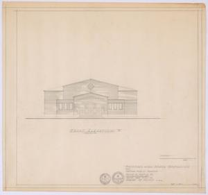 "Primary view of object titled 'High School Gymnasium Proposal, Ozona, Texas: Front Elevation ""B""'."