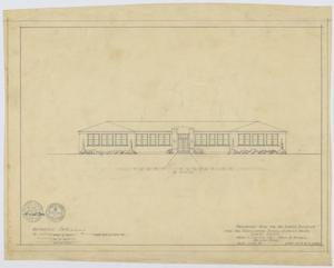 Primary view of object titled 'School Building Plans, Ira, Texas: Front Elevation'.