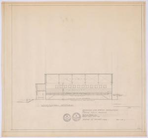 Primary view of object titled 'High School Gymnasium Proposal, Ozona, Texas: Longitudinal Section'.