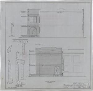 Primary view of object titled 'High School Building Addition, Rule, Texas: East and South Elevations'.