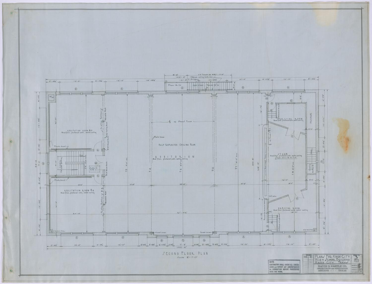 High School, Knox City, Texas: Second Story Floor Plan                                                                                                      [Sequence #]: 1 of 2