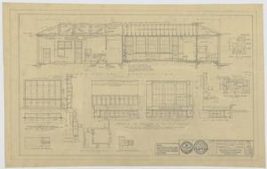 Primary view of object titled 'Field House and Primary School, Kermit, Texas: Longitudinal Section and Cabinet Details'.