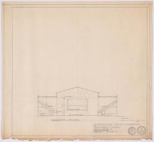 Primary view of object titled 'High School Gymnasium Proposal, Ozona, Texas: Transverse Section'.