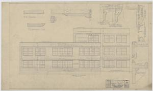 Primary view of object titled 'Iraan High School Addition: Front Elevation and Diagrams'.