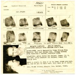 Primary view of object titled '[Dallas Police Department Fingerprint Chart for Raymond Hamilton - 1934]'.