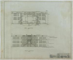 Primary view of object titled 'School Building, Kermit, Texas: Front and Rear Elevations'.