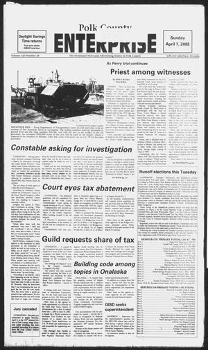 Primary view of object titled 'Polk County Enterprise (Livingston, Tex.), Vol. 120, No. 28, Ed. 1 Sunday, April 7, 2002'.