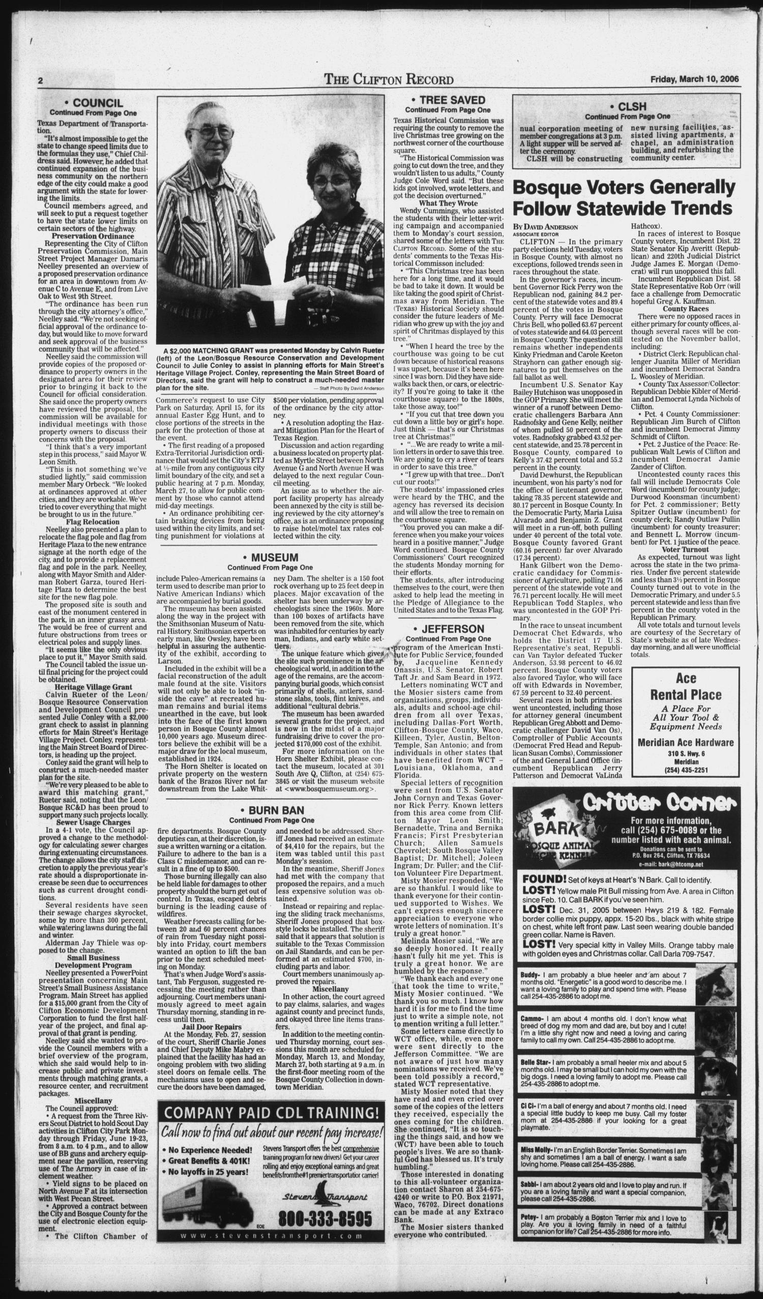 The Clifton Record (Clifton, Tex.), Vol. 111, No. 10, Ed. 1 Friday, March 10, 2006                                                                                                      [Sequence #]: 2 of 18