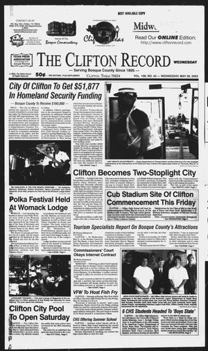 Primary view of object titled 'The Clifton Record (Clifton, Tex.), Vol. 108, No. 43, Ed. 1 Wednesday, May 28, 2003'.