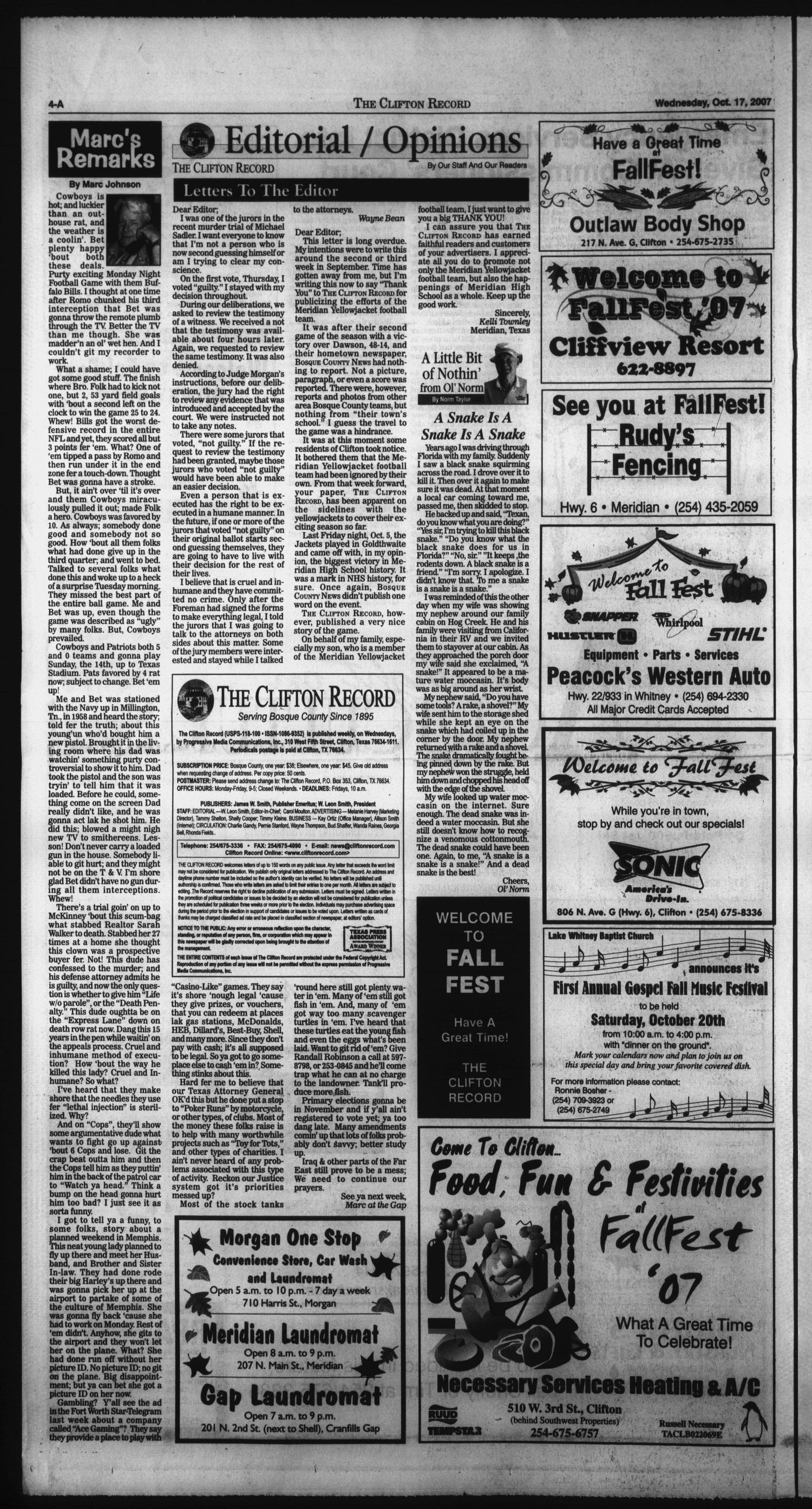 The Clifton Record (Clifton, Tex.), Vol. 112, No. 42, Ed. 1 Wednesday, October 17, 2007                                                                                                      [Sequence #]: 4 of 34