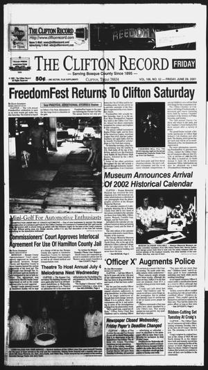 Primary view of object titled 'The Clifton Record (Clifton, Tex.), Vol. 106, No. 52, Ed. 1 Friday, June 29, 2001'.