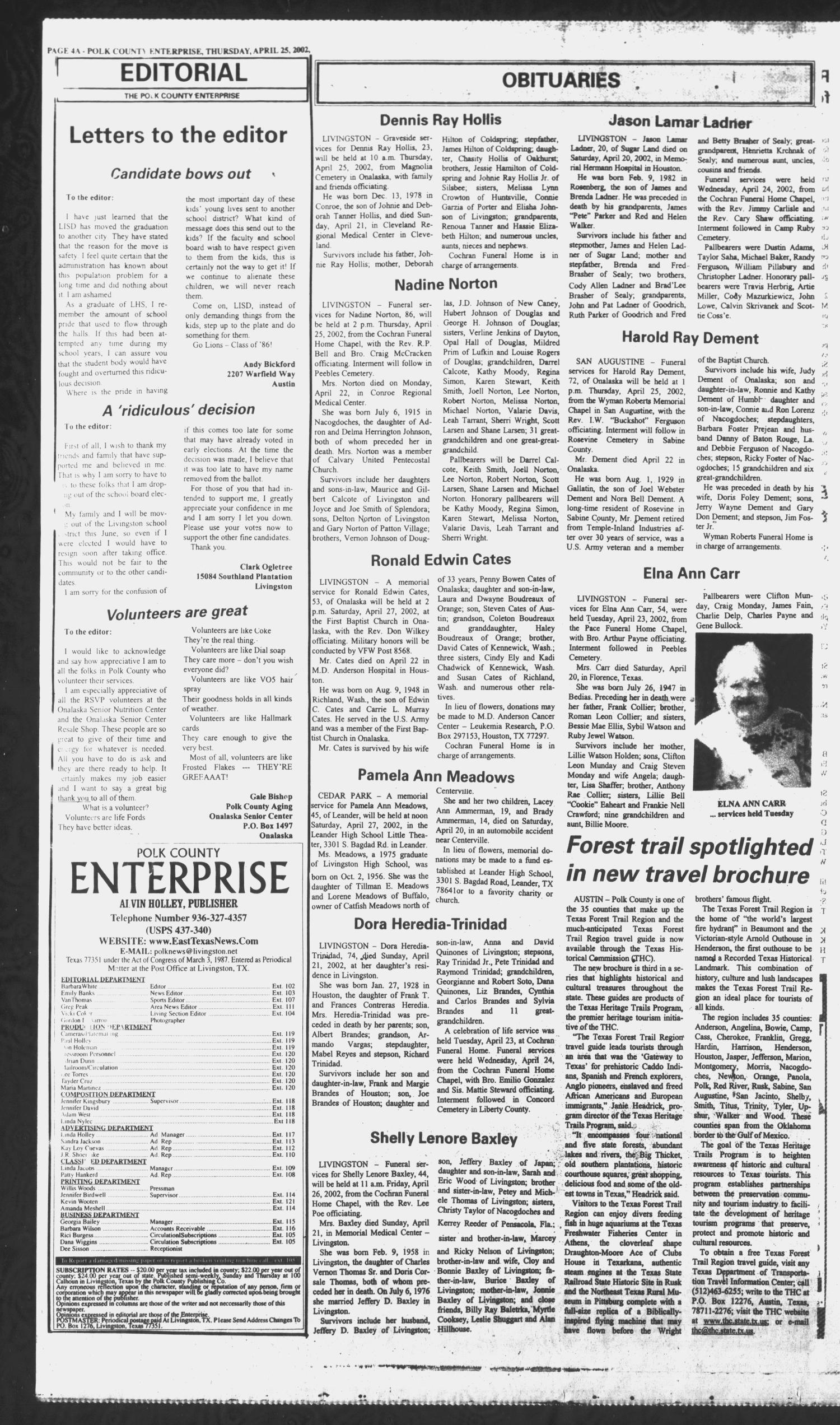 Polk County Enterprise (Livingston, Tex.), Vol. 120, No. 33, Ed. 1 Thursday, April 25, 2002                                                                                                      [Sequence #]: 4 of 44