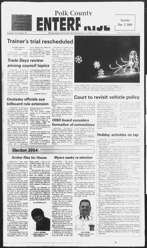 Primary view of object titled 'Polk County Enterprise (Livingston, Tex.), Vol. 121, No. 98, Ed. 1 Sunday, December 7, 2003'.