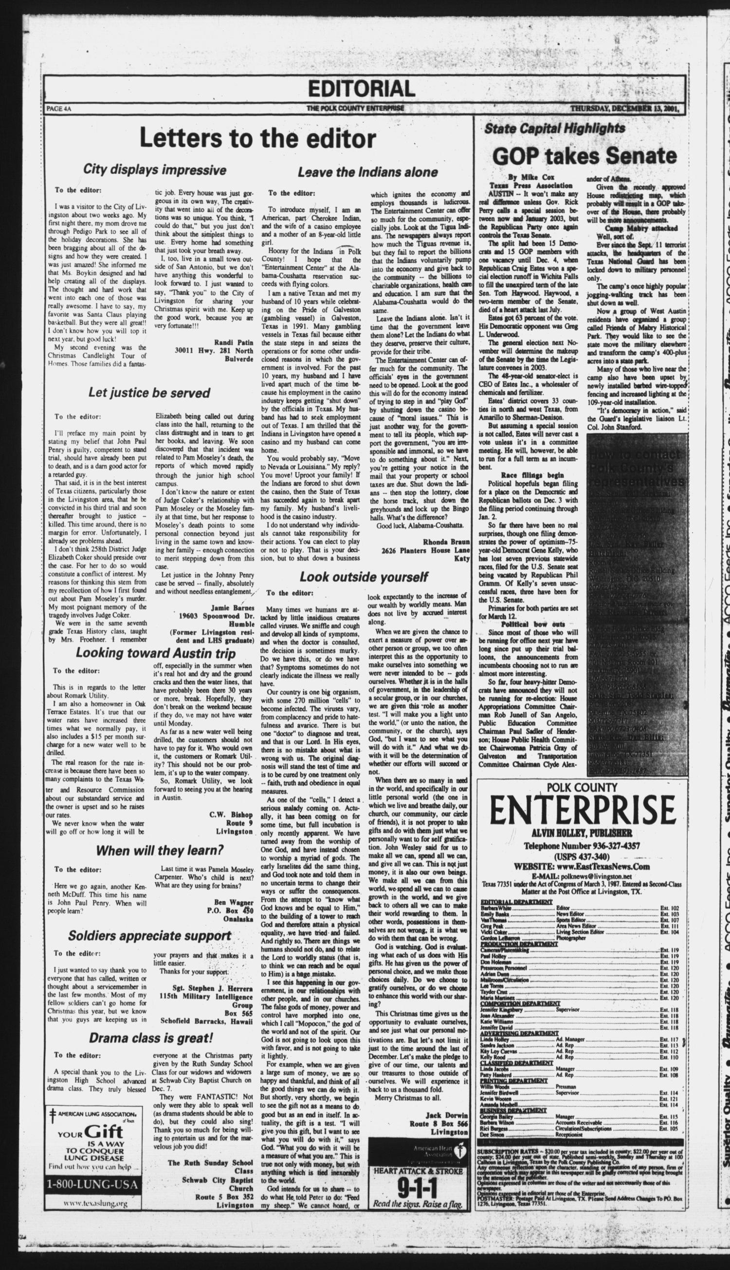 Polk County Enterprise (Livingston, Tex.), Vol. 119, No. 99, Ed. 1 Thursday, December 13, 2001                                                                                                      [Sequence #]: 4 of 20