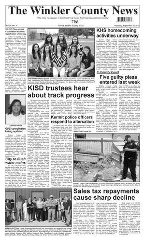 Primary view of object titled 'The Winkler County News (Kermit, Tex.), Vol. 78, No. 37, Ed. 1 Thursday, September 19, 2013'.