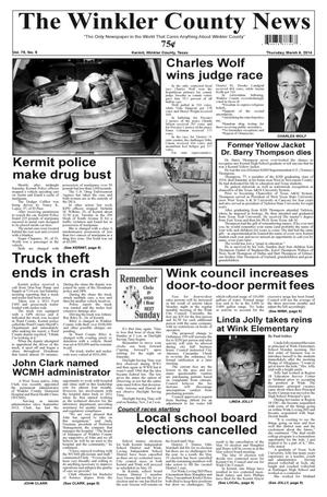 Primary view of object titled 'The Winkler County News (Kermit, Tex.), Vol. 79, No. 9, Ed. 1 Thursday, March 6, 2014'.