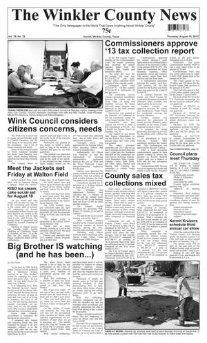 Primary view of object titled 'The Winkler County News (Kermit, Tex.), Vol. 78, No. 32, Ed. 1 Thursday, August 15, 2013'.