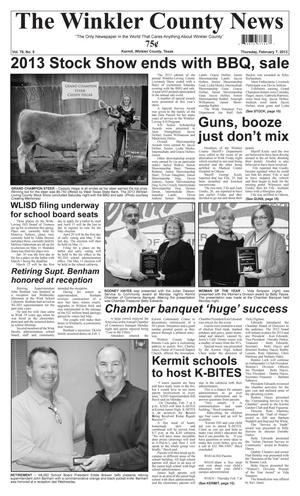 Primary view of object titled 'The Winkler County News (Kermit, Tex.), Vol. 78, No. 5, Ed. 1 Thursday, February 7, 2013'.
