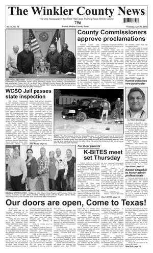 Primary view of object titled 'The Winkler County News (Kermit, Tex.), Vol. 78, No. 14, Ed. 1 Thursday, April 11, 2013'.