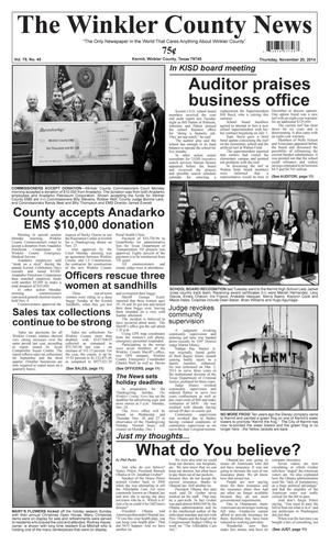 Primary view of object titled 'The Winkler County News (Kermit, Tex.), Vol. 79, No. 45, Ed. 1 Thursday, November 20, 2014'.