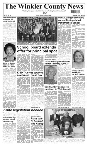 Primary view of object titled 'The Winkler County News (Kermit, Tex.), Vol. 78, No. 15, Ed. 1 Thursday, April 18, 2013'.