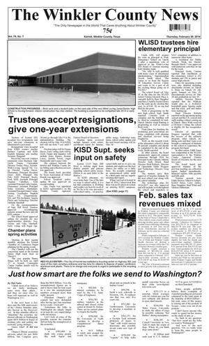 Primary view of object titled 'The Winkler County News (Kermit, Tex.), Vol. 79, No. 7, Ed. 1 Thursday, February 20, 2014'.