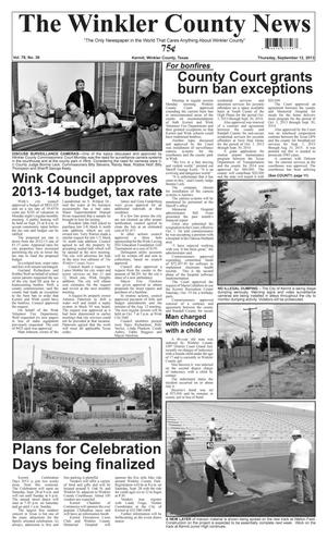 Primary view of object titled 'The Winkler County News (Kermit, Tex.), Vol. 78, No. 36, Ed. 1 Thursday, September 12, 2013'.
