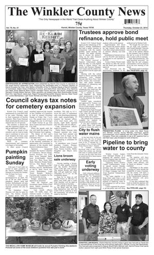 Primary view of object titled 'The Winkler County News (Kermit, Tex.), Vol. 79, No. 41, Ed. 1 Thursday, October 23, 2014'.