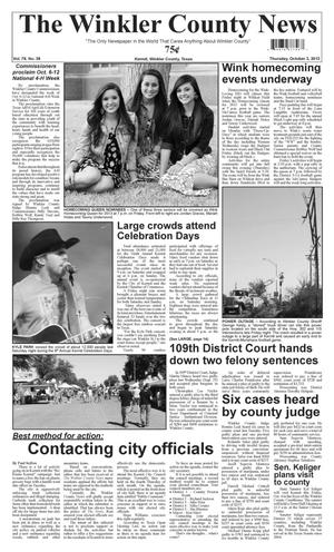 Primary view of object titled 'The Winkler County News (Kermit, Tex.), Vol. 78, No. 39, Ed. 1 Thursday, October 3, 2013'.