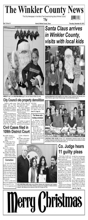 Primary view of object titled 'The Winkler County News (Kermit, Tex.), Vol. 78, No. 51, Ed. 1 Thursday, December 26, 2013'.
