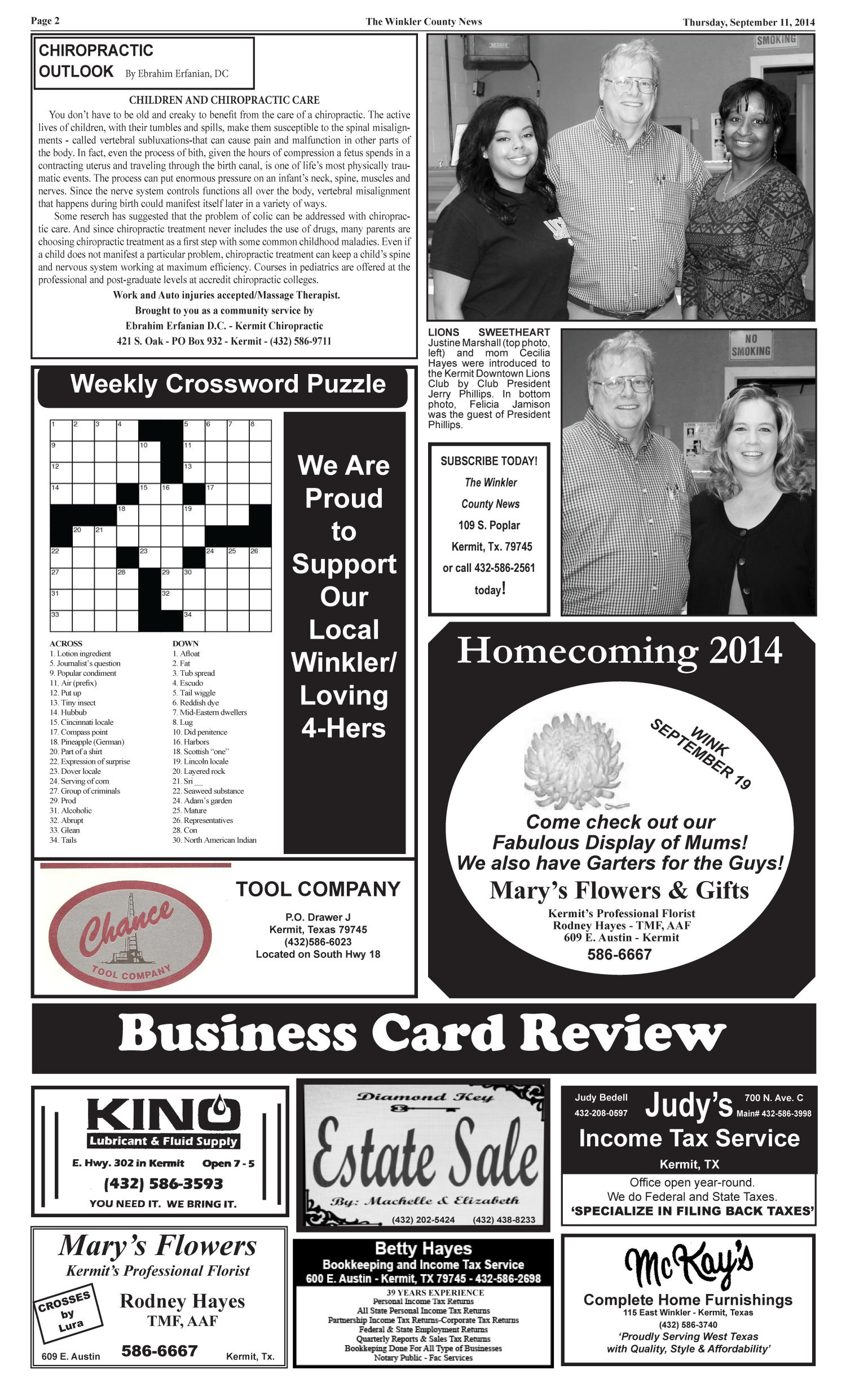 The Winkler County News (Kermit, Tex.), Vol. 79, No. 35, Ed. 1 Thursday, September 11, 2014                                                                                                      [Sequence #]: 2 of 14