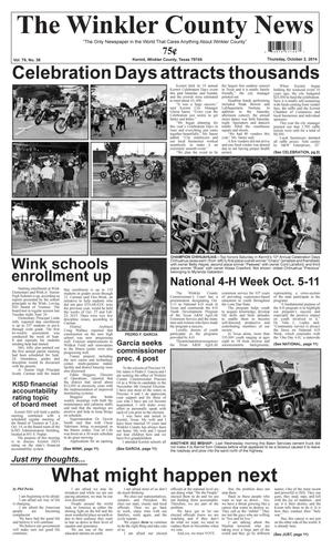 Primary view of object titled 'The Winkler County News (Kermit, Tex.), Vol. 79, No. 38, Ed. 1 Thursday, October 2, 2014'.