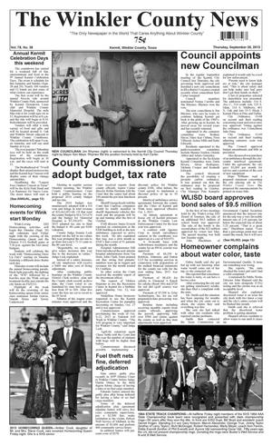 Primary view of object titled 'The Winkler County News (Kermit, Tex.), Vol. 78, No. 38, Ed. 1 Thursday, September 26, 2013'.